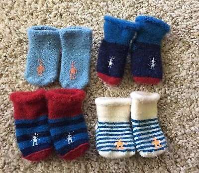 LOT of 4 SMARTWOOL Cozy Newborn and 3-6 mo Baby Socks Booties *PreOwned*