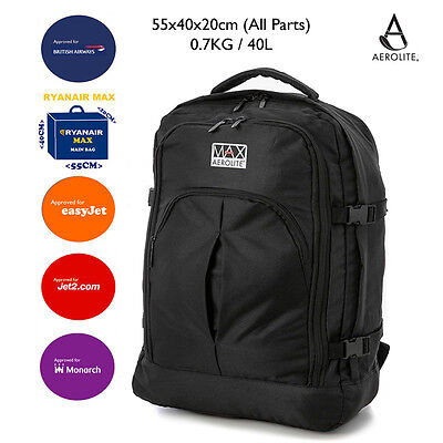 Aerolite Max Backpack Ryanair 55x40x20cm Approved Cabin Hand Luggage Rucksack