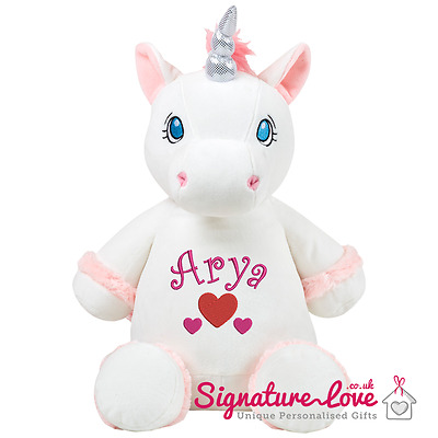 Personalised Embroidered Unicorn Soft Toy/New Baby/Christening/Birthday Girl