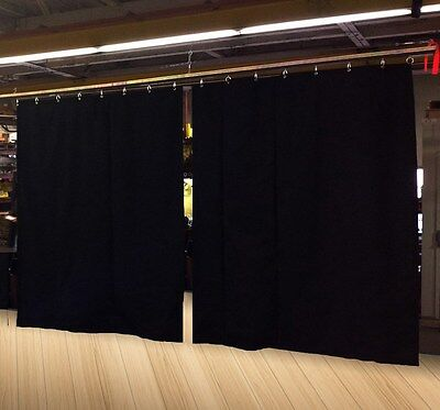 Lot of (2) Economy Black Curtain Panel/Partition, 10 H x 4½ W, Non-FR