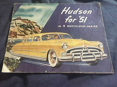 1951 Hudson Hornet Commodor 6 & 8 Wasp Pacemaker Color Brochure Catalog Prospekt
