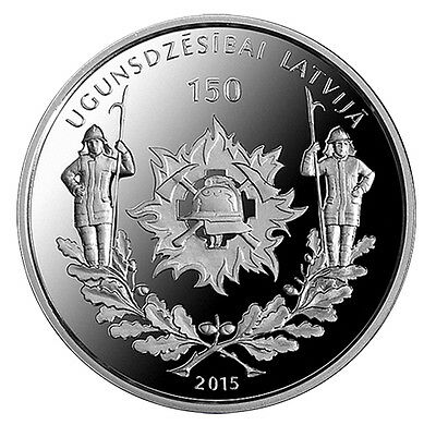 """2015 Latvia 5 Euro Silver Proof Coin """"Firefighting in Latvia 150 Years"""""""