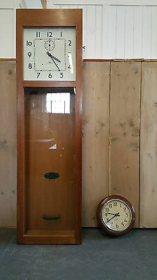 Antique 1930s Oak Master Clock and Slave Clock IBM United Kindom