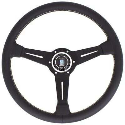 Nardi Classic Steering Wheel - Leather with Black Spokes & Grey Stitching -