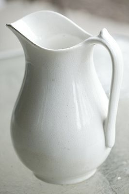"Dale & Davis Prospect Hill Dense White 12"" Ironstone Water Pitcher 1879-1894"