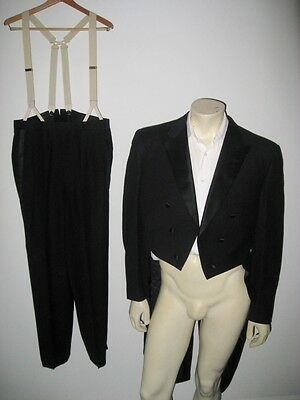 Vintage 1940s Black Tuxedo with Tails and Suspenders
