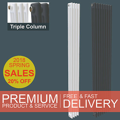 Vertical Traditional Upright 3 Triple Column Radiator Victorian Style SimpleHome