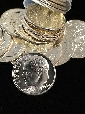 (50) 1 Roll Proof 1964 Roosevelt Dimes
