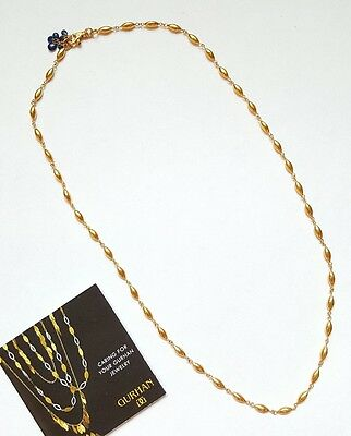 """Gurhan 24kt Solid Yellow Gold 23"""" Long Bead Necklace Chain, Sapphire Briolettes"""