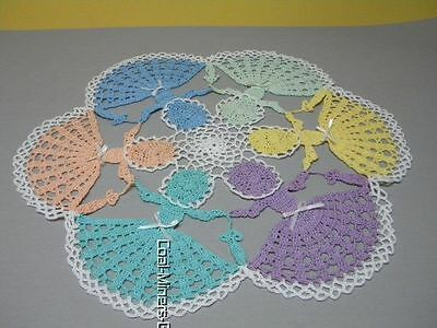 """Hand crocheted 17"""" Round Doily Table Topper Pastel Crinoline Ladies w/parasols"""