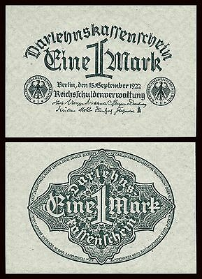 Alemania - Germany  1 Mark  15-9-1922   Pick 61a  SC = UNC
