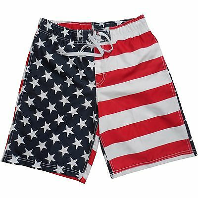 adf940f33e Men's USA American Flag Stars Stripes Red White Blue Swim Trunk Board Shorts