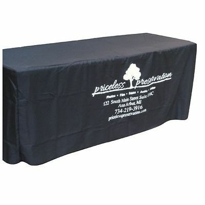 6' Fitted Polyester Table Cloth - Black with Custom Printed Logo for Businesses