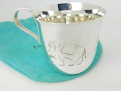 Rare 1952 Tiffany & Co. Maker Sterling Silver 3 Circus Elephant Baby Cup Pouch