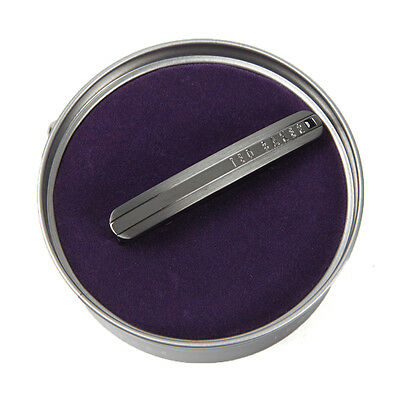 Ted Baker Mens Grey Curved And Rounded Tie Bar, Tie Clip, Gunmetal Grey