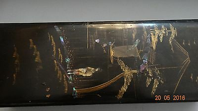 19th  ANTIQUE CHINESE BLACK LACQUERED  BOX GOLD PAITING AND  MOTHER OF PEARL