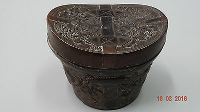 Antique Chinese Metal  Box With Dragons And Flowers