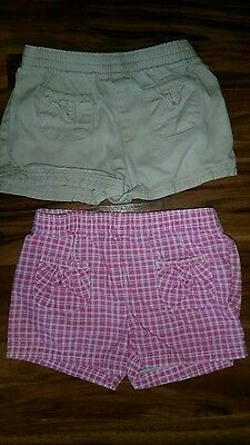 Infant Baby Girl Cotton Shorts Faded Glory 2 Pair - Size 12M