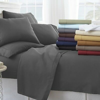 Home Collection Ultra Soft Cozy 6 Piece Bed Sheet Set -All-Season Hypoallergenic
