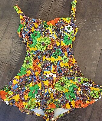 Vtg 60s Psychedelic Flower Power Hippie Mod Pinup Bathing Suit Retro 2 4 XS S