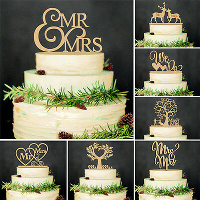 Romantic Wooden Mr & Mrs Cake Topper Wedding Party Anniversary Decoration
