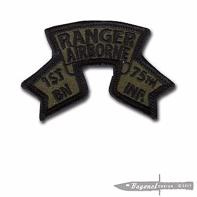 """OD Green, Wax Backed- Old Style US 1st Ranger Battalion Scroll - 3 1/4"""" x 2 1/8"""""""