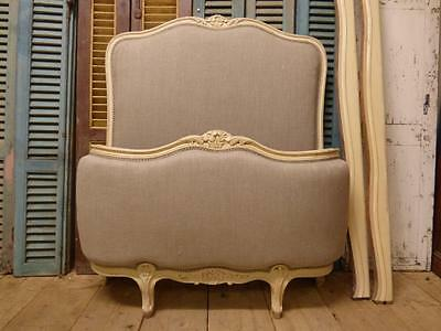 LOVELY VINTAGE UPHOLSTERED FRENCH SINGLE BED - one of a pair - new material dv66