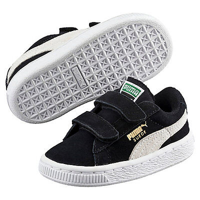 Puma Suede 2-Strap Kids Toddler Sneakers 356274-01 Black/white Us Toddler