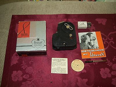 Vintage Univex 8 Mm Cine Camera With Lens- Box -Directions- Brush -Guarantee