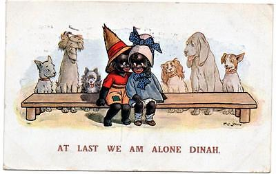1925 T G LEWIN  At Last We Am Alone Dinah  Ethnic Comic  Postcard