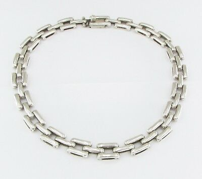 Mexico - 925 Silver - Vintage Antique Finish Linked Chain Necklace 62g B029