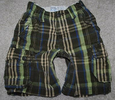 Children's Place Plaid Adjustable Waist Green Cargo Pocket Boys Shorts Size 5