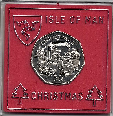 IOM Isle of Man Manx 1991 50p Christmas A Navity Scene Uncirculated cased