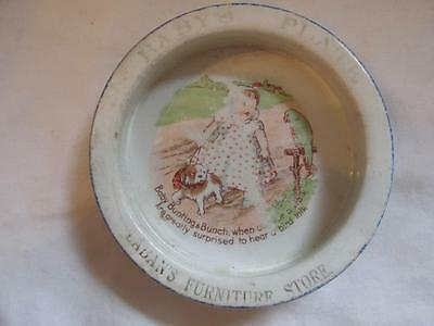 "Antique China ""Baby Bunting"" Child's Feeding Dish - Laban's Furniture Store Adv."