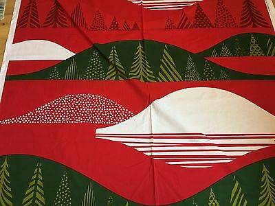 "Marimekko Fabric ""Kultakero""  by the Yard, Perfect, 100% Cotton, Red/Grn"