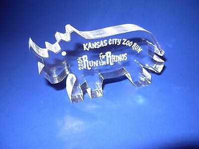 Lucite Acrylic Rhino Figure Sculpture Guzzini Era Style 2004 Run for the Rhinos