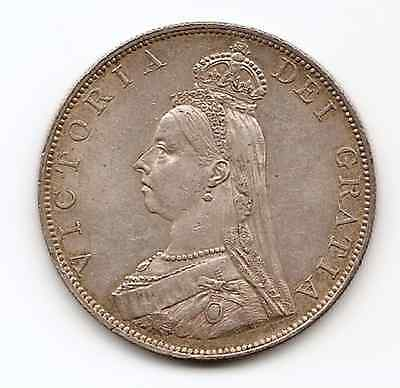 Great Britain 1887 Queen Victoria Silver Double Florin Nice Vf