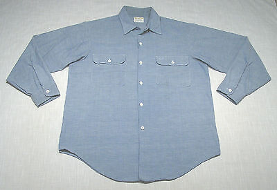 Vintage PENNEYS Big Mac Chambray Shirt (60s) Blue WORK/CHORE! MOD! WOW! L