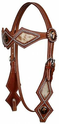 Showman MEDIUM OIL Leather Silver Beaded Diamond Shaped Cowhide Headstall! TACK!