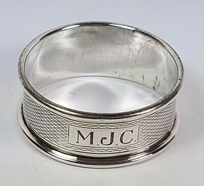 "Vintage Single Sterling Silver Napkin Ring Initials Monogram ""mjc"" 1956"