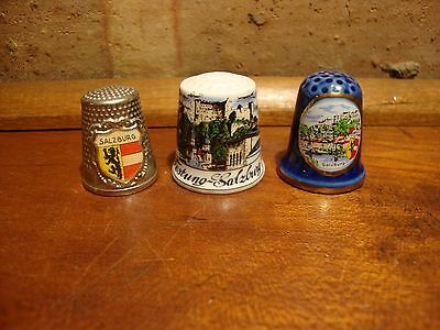 Lot Of Three Collector  Thimbles - Salzburg, Germany Nice!   Thimble