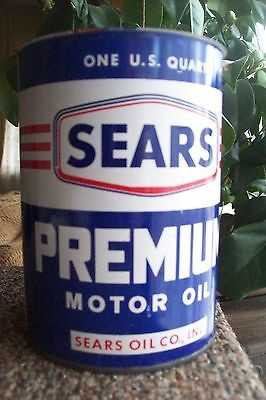 vintage PREMIUM SEARS  motor oil can- One U.S. Quart- by  SEARS OIL CO
