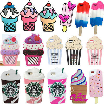 New 3D Ice cream Cartoon Soft Silicone Rubber Back Case Cover For Apple iPhone