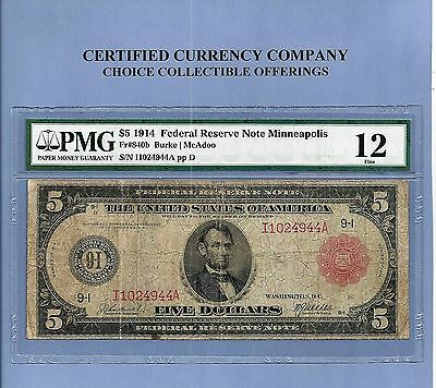 1914 $5 Red Seal Minneapolis Minnesota FR 840-B Fed Reserve Note PMG Fine 12
