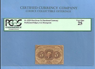 FR 1229 - Perforated Edge Five Cents Washington Fractional Currency PCGS VF 25