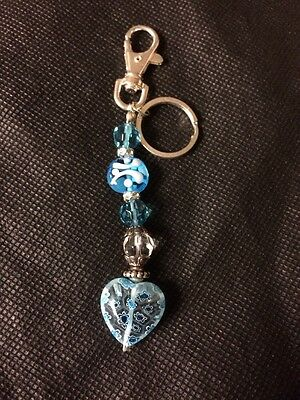 Blue And White Beaded Keychain