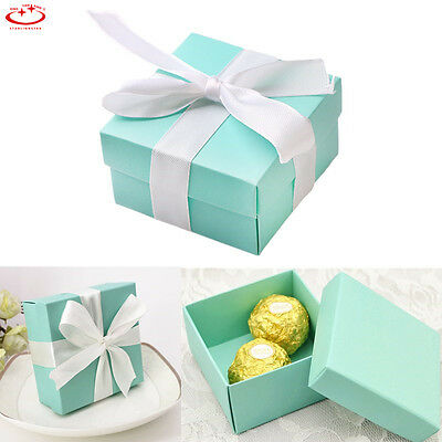 10pcs Square Favor Ribbon Gift Box Candy Boxes Wedding Party Decor Luxury Blue
