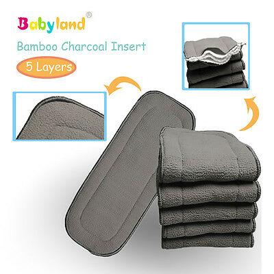 Reusable Babyland Baby Bamboo Microfiber Cloth Diaper Insert 5 Layer US Seller