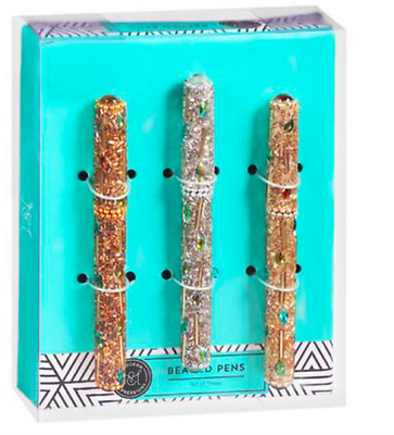 Modern Expressions 2-GOLD 1-SILVER Tone Beaded Pen Set of 3 GLITZY INK PENS