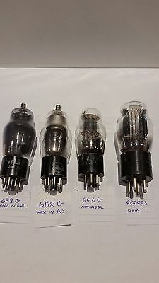 6F8G, 6B8G, 6G6G, One x ROGERS 4 Pin Vacuum Valves 4 UNTESTED  FREE SHIPPING.